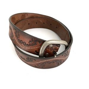 Silver Jeans Brown Tooled Belt Leather Boho